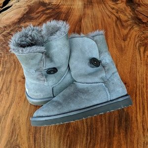 UGG Gray Bailey Button Shearling Boots W 8